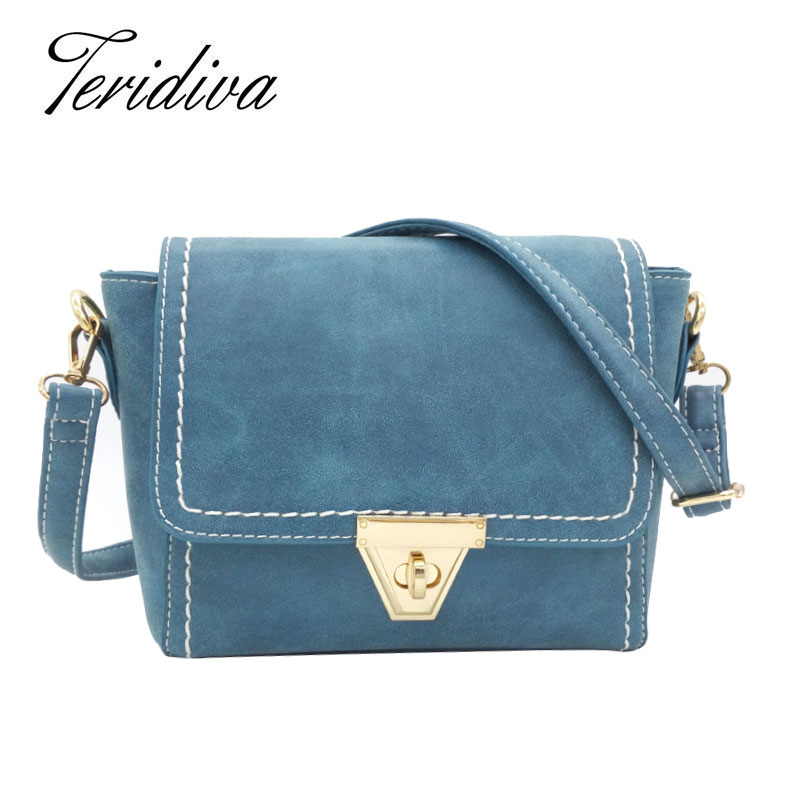 Woman New Arrival 2014 Winter Bags Women Shoulder Bag Blue Nubuck Leather Handbags Trapeze Handbag Vintage Small Messenger Bag<br><br>Aliexpress