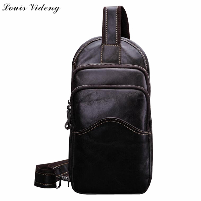 New Brand Fashion Mens Genuine Leather Chest Bag,Exquisite Workmanship Male Small Shoulder Bag,Double Layers Men Cross-body Bag<br><br>Aliexpress
