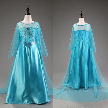 Новое поступление Elsa девушки принцесса детей платья ну вечеринку Vestidos косплей детские платья лето анна дети пользовательские платья горячая Sellt