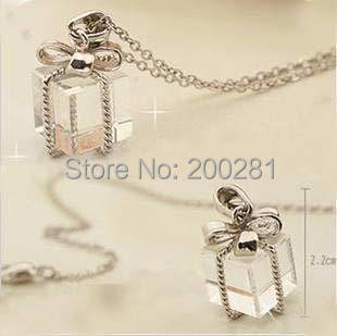 Women Jewelry Crystal Rhinestone Gift Box Pendant Necklaces Clear Crystal Bow Gift Box Long Sweater Chain Necklace Silver Chain(China (Mainland))
