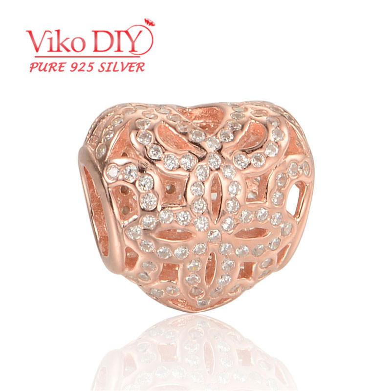 5pcs/lot 2015 Trendy 925 Silver Diy Heart Charms Love You Moon Bracelet Charm With Cubic Zirconia Diy Viko Jewelry LW543