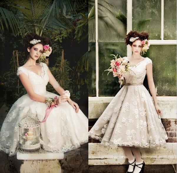 Hot sales cap sleeve v neck tea length a line vintage lace for V neck tea length wedding dress