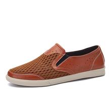 36-48 Summer Mesh Shoes Men Loafers Leather Men Shoes Casual Moccasins Men Flats Breathable Summer Shoes Plue Size US13 US14