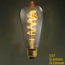 NEW Incandescent Vintage Bulb 60W 220V Retro Edison Art Decoration ST64 Light Bulb E27 Antique  wind wire lamps Bulbs(China (Mainland))