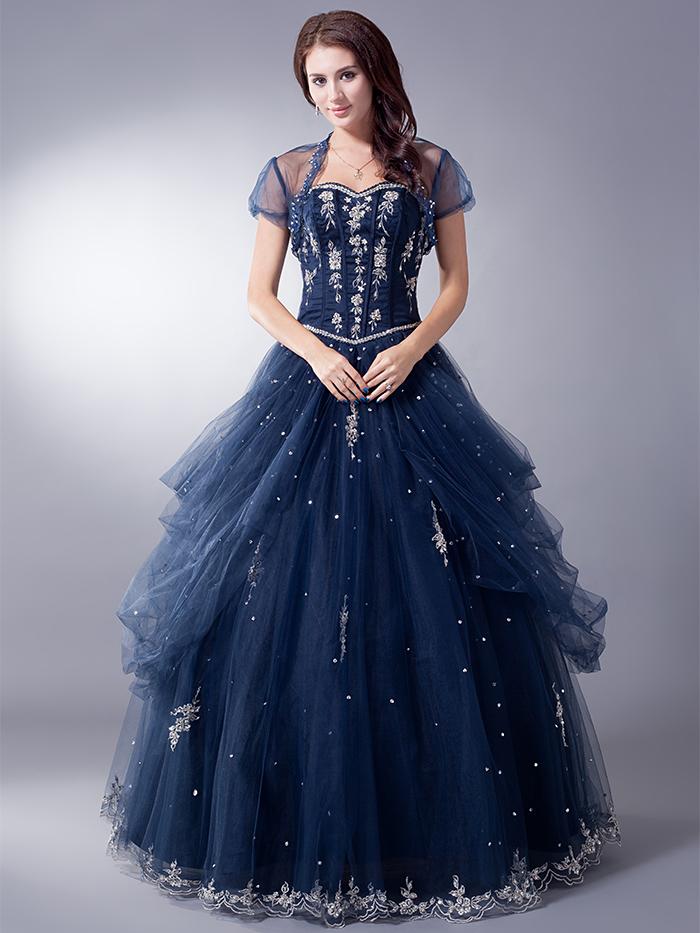 Blue full length prom dresses