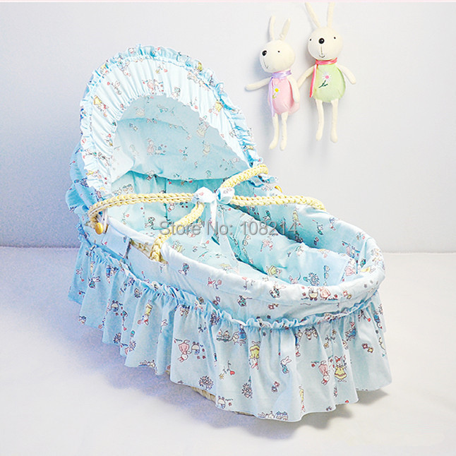 New Cotton Cloth Infant Sleeping Basket Lovely Baby Bassinet With Long Skirt Baby Care Outdoor Corn Bran Woven Cribs 14 Colors<br><br>Aliexpress