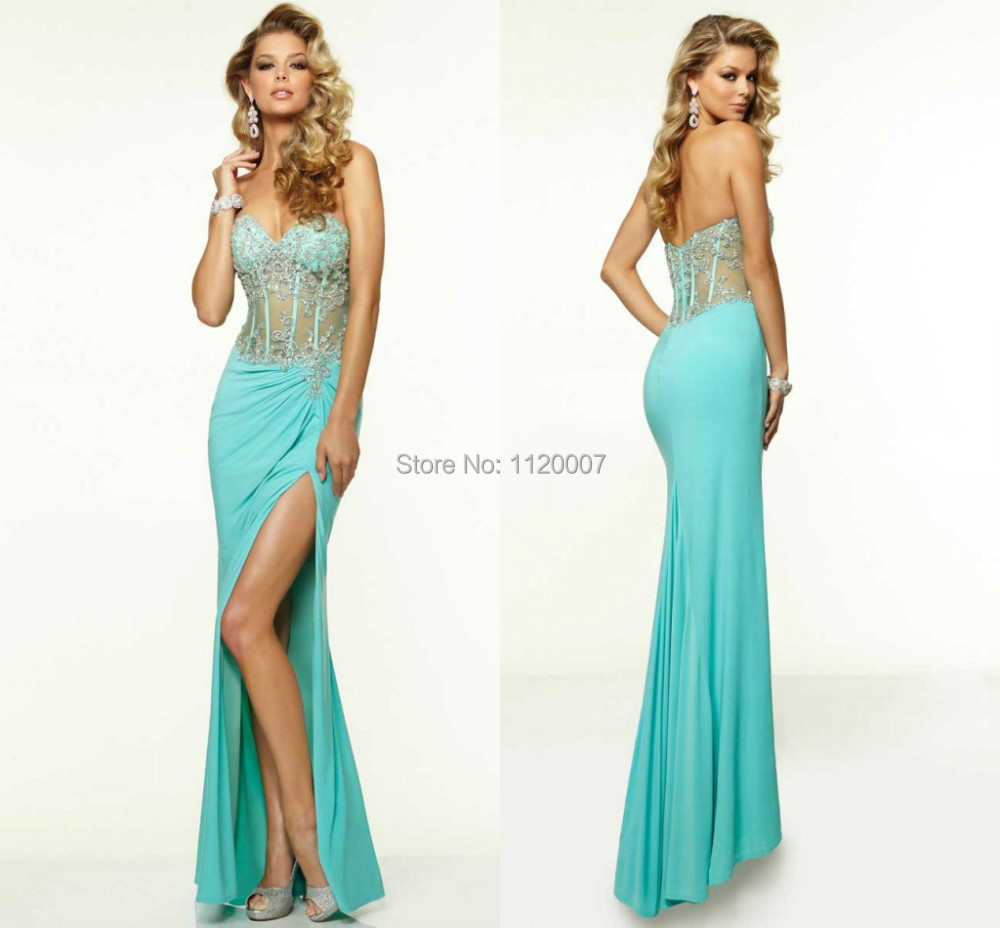 Teal Blue Turquoise Sheath Party Dresses See Through with ...
