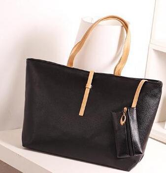 Free shipping commuter belt buckle big bag wild colorful PU shoulder bag fashion shopping handbag cheap price(China (Mainland))