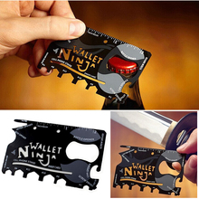 18 in 1 Multi Function Credit Card Hand Tools Black Stainless Steel Portable Wallet Knife Outdoor Camping Pocket Survival Knife(China (Mainland))