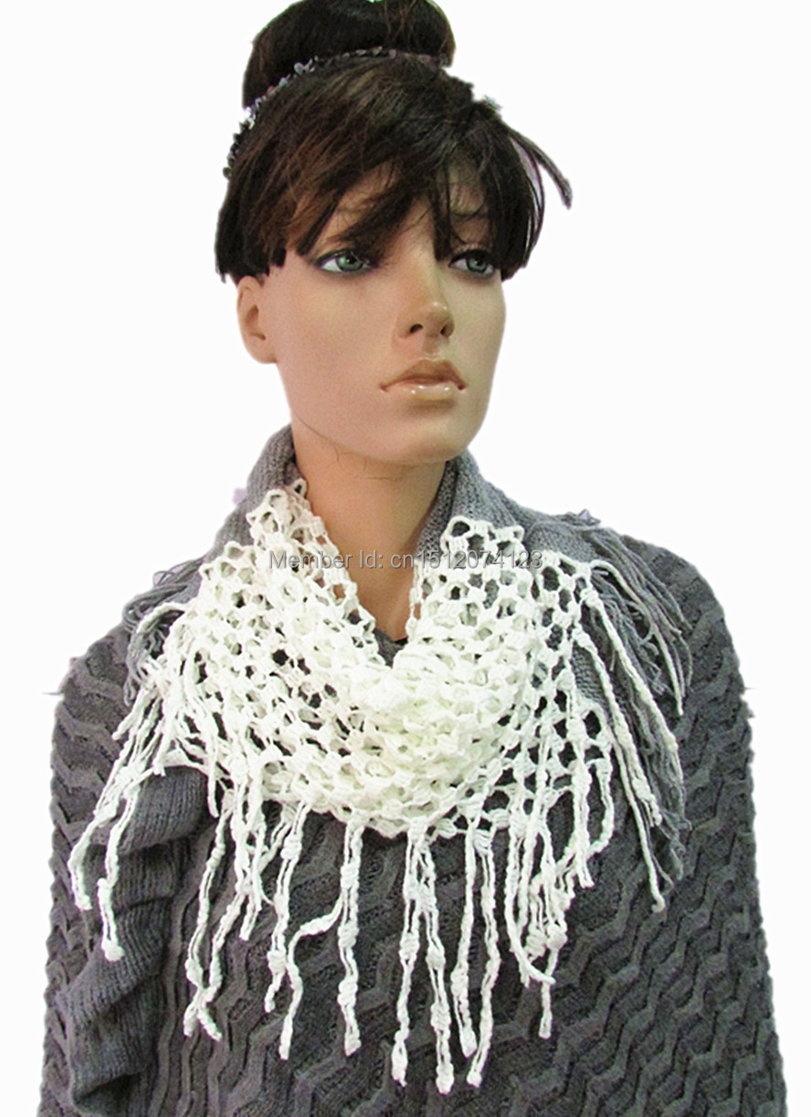 New Fashion Women/Ladies Knitted Scarves Warm Neck Circle white/gray Scarf Small Wrap(China (Mainland))