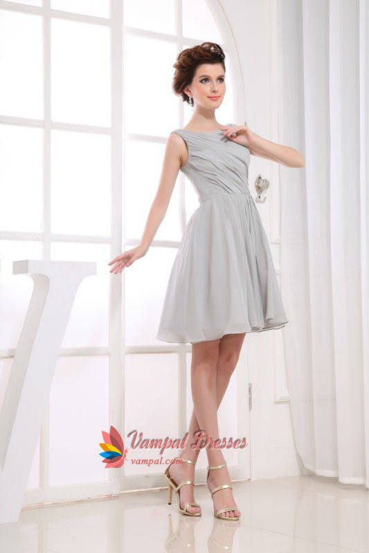 Short Grey Chiffon Bridesmaid Dresses, Short Pleated