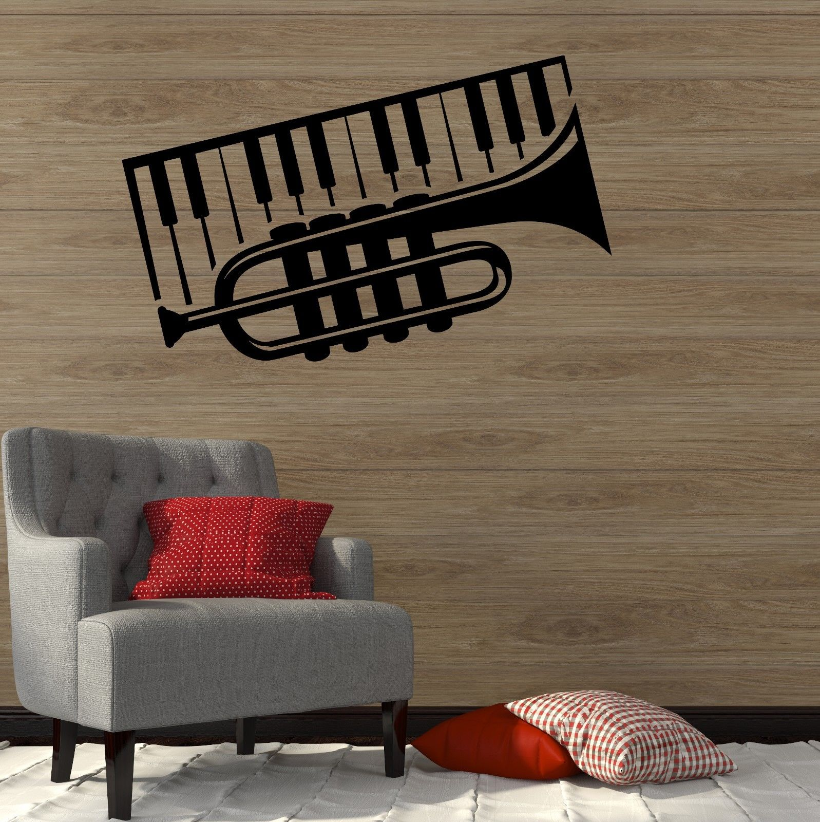 Trumpet Piano Musical Instrument Music Decor Wall Decal Vinyl Stickers free shipping(China (Mainland))