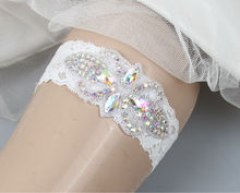 White Lace Bride Garter for Wedding With Crystal Rhinestones Applique