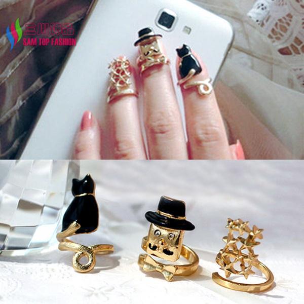3pcs/set 2014 hot Fashion Gold Metal Enamel Cat Cap Man Stars Top Adjustable Designer finger Nail Rings for women bague Bijoux(China (Mainland))