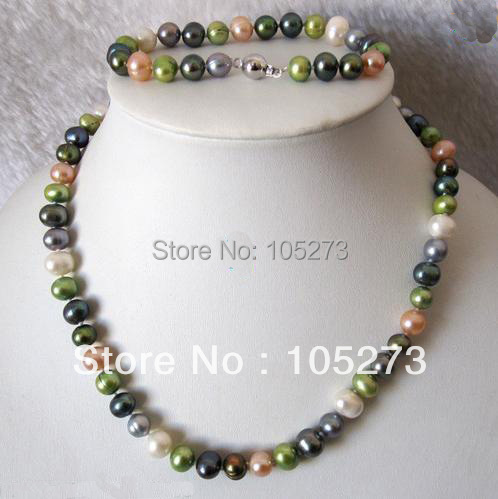 New Arriver Pearl Jewelry Set 18/8inch Multicolor AA8-9MM Natural Freshwater Pearl Necklace Bracelet Wholesale New Free Shipping<br><br>Aliexpress