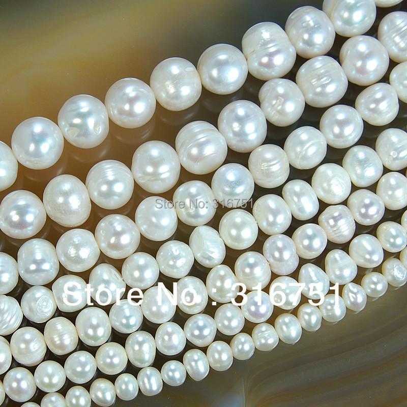 Vente chaude eau douce naturelle blanc perle perles rondes 15