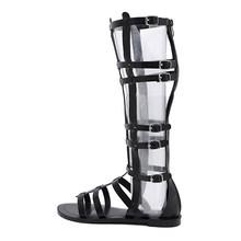 Gdgydh Yaz Gladyatör Ayakkabı Kadın Roma Peep Toe Kadın Çizmeler Diz Üzerinde Zip Cut-çıkışları Yılan Cilt Kadın ayakkabı Damla Nakliye(China)