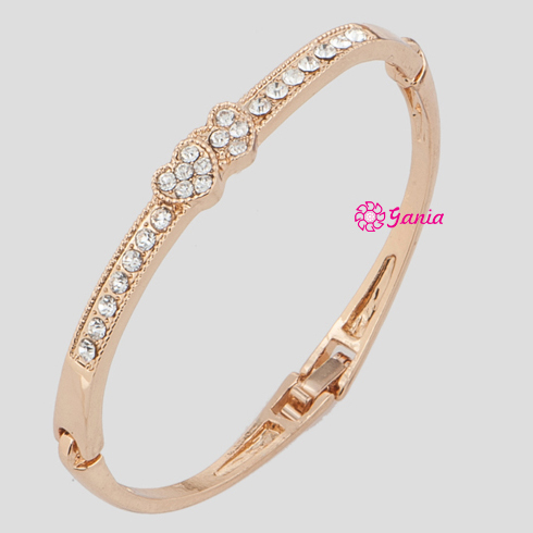 High Quality High Crystal Hinged Bangles, Rose Gold Plated Rhinestone Crystal Mini Twin Hearts Bangles for Valentine's Day Gift(China (Mainland))
