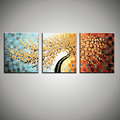 Large 3 piece wall art decor tree abstract knife acrylic painting oil canvas floral painting for