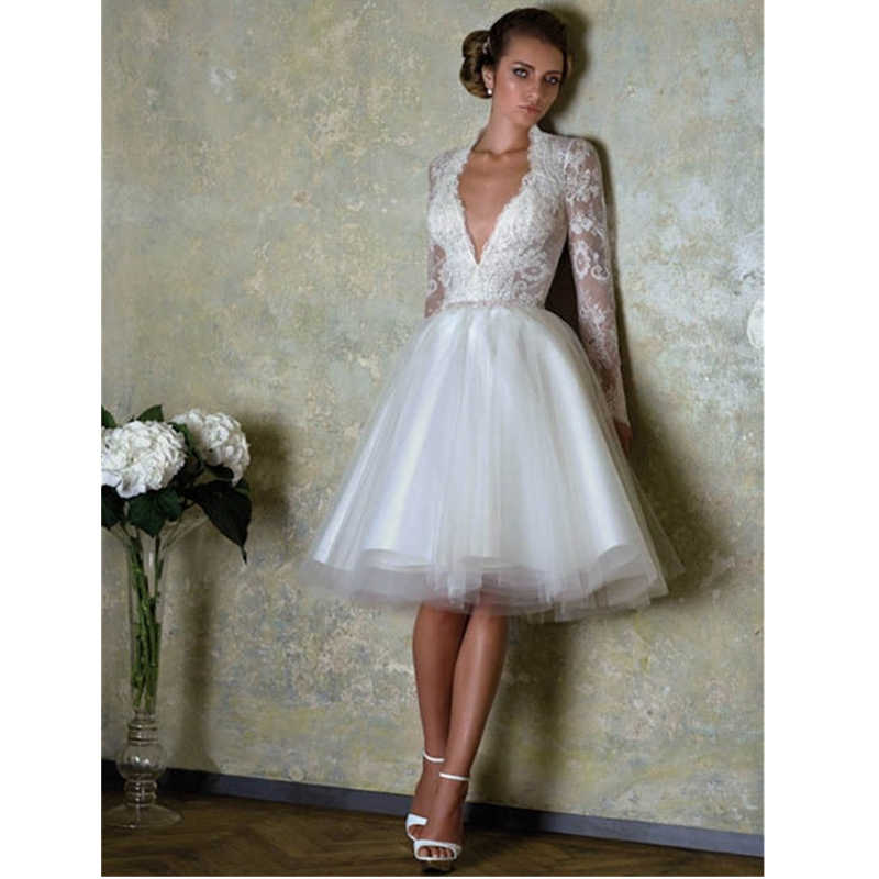 2015 New Design Short Lace Wedding Dresses With Lace Long Sleeves And Deep V Neck Bridal Gowns