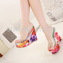 Buy Shoes Women's Platform Slippers Female Ladies High-Heeled Platform Sandals Casual Slippers Wedges Flip Flop Bling for $25.13 in AliExpress store