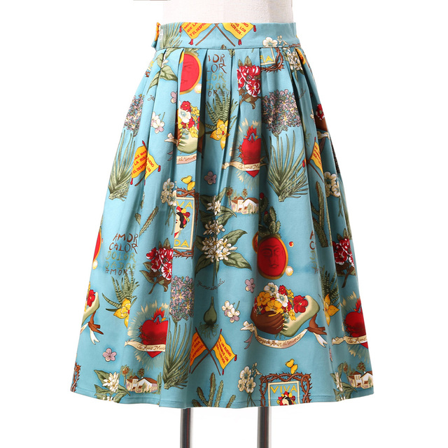 Жилетidos 2016 женщин pinup винтаж юбки rockabilly 50 s 60 s юбка осень Цветочным ...