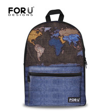 Fashion Children School Bags Vintage Denim America Map Printed Shoulder Bookbag Students Canvas Schoolbag For Boys Kids Mochilas(China (Mainland))