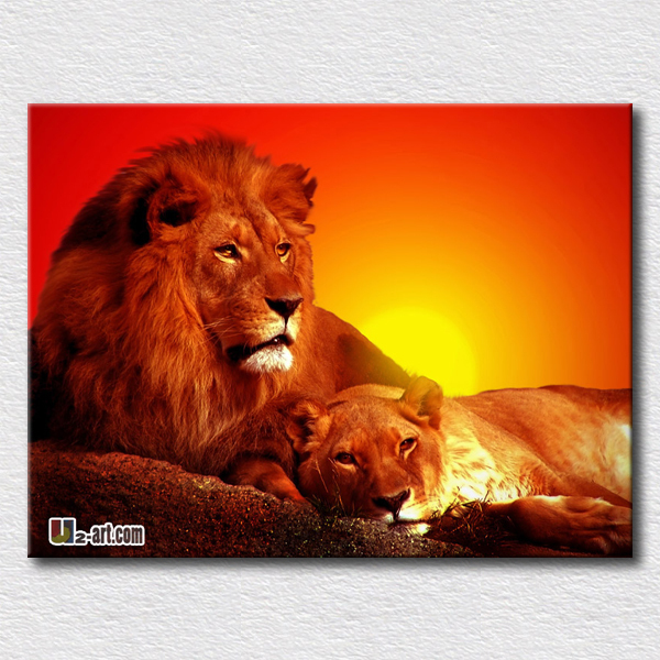 Lion and his wife picture canvas animal printing beautiful painting symbol of love hang in the room(China (Mainland))