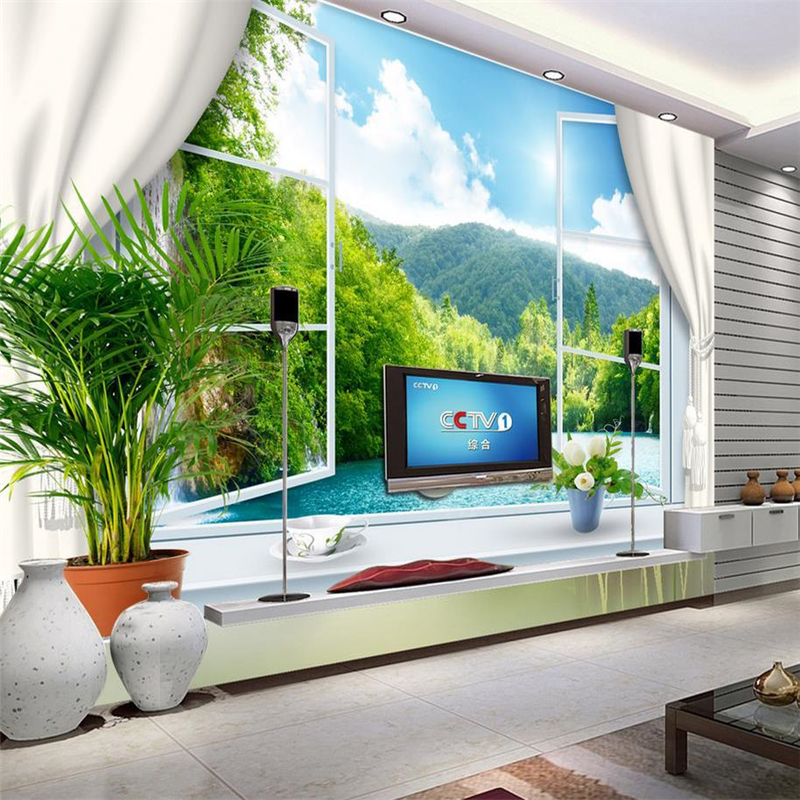 Customize hd mural 3d wallpaper window sea europe papel de for Cost of a mural