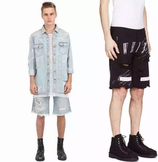 2015 Brand Summer Off White Kanye West Virgil Abloh Men Stripe 13 ripped Hole Mesh Letters Washed Denim Shorts Jeans BermudaОдежда и ак�е��уары<br><br><br>Aliexpress