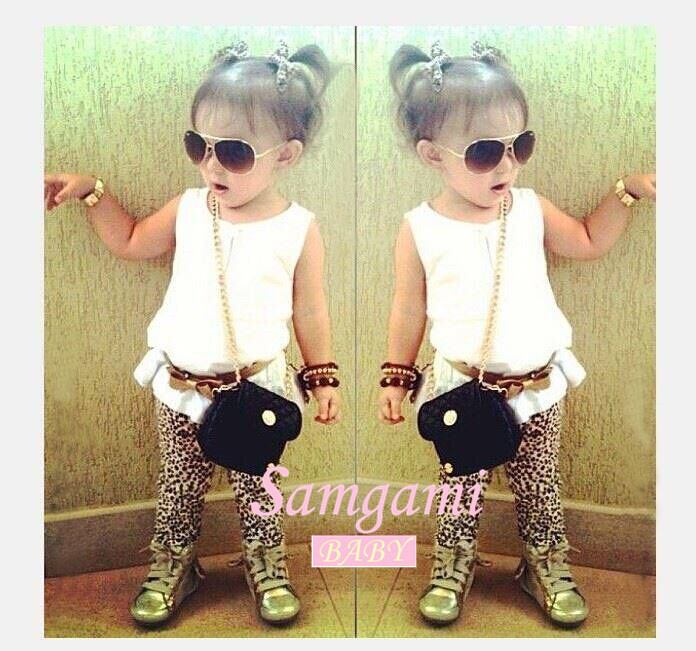 2015 new girls summer sleeveless t shirt with leopard trousers sets baby girl fashion clothing set children casual 2pcs set hot <br><br>Aliexpress