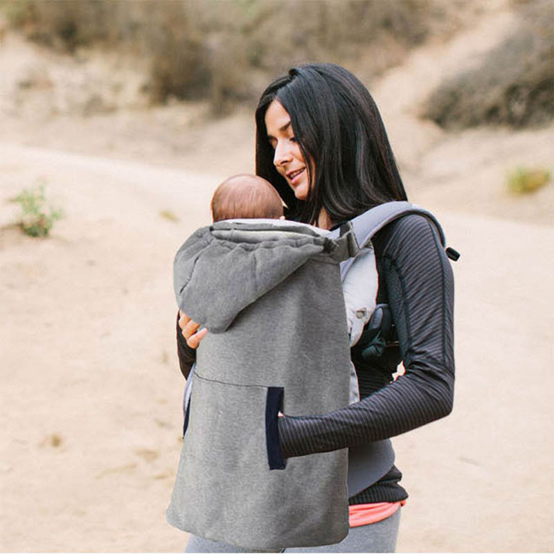 Velvet Baby Sling Warm Cloak Blanket Winter Outdoor Necessary Baby Carrier Hooded Blankets with Pockets