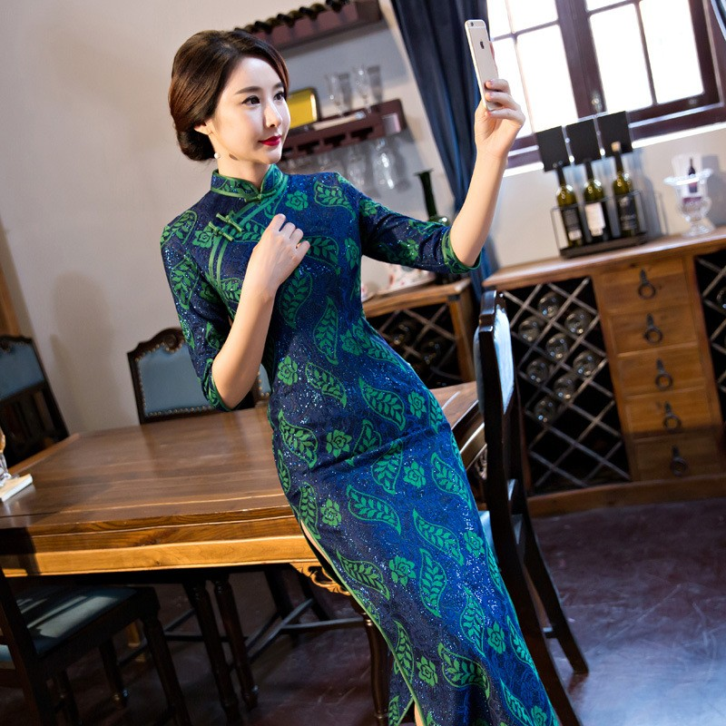 ใหม่เลดี้วินเทจสตรีลูกไม้ยาวCheongsamแฟชั่นสไตล์จีนชุดที่สง่างามQipaoขนาดSml XL XXL XXXL F101016 ถูก