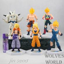 Free shipping 6 pcs/set Japan Famous Anime Dragon Ball DragonBall Z Super Saiyan Goku Vegetto PVC actio FIgure kids Toys KB031