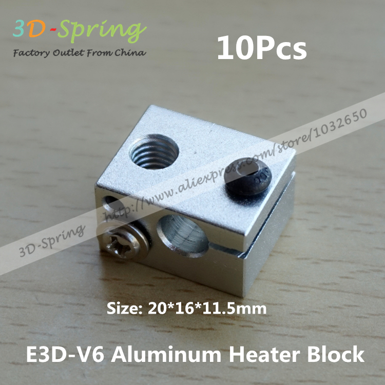 10Pcs Reprap E3DV6 Aluminum Heater Block All Metal E3D V6 Extruder For HotEnd 20x16x11 5 20