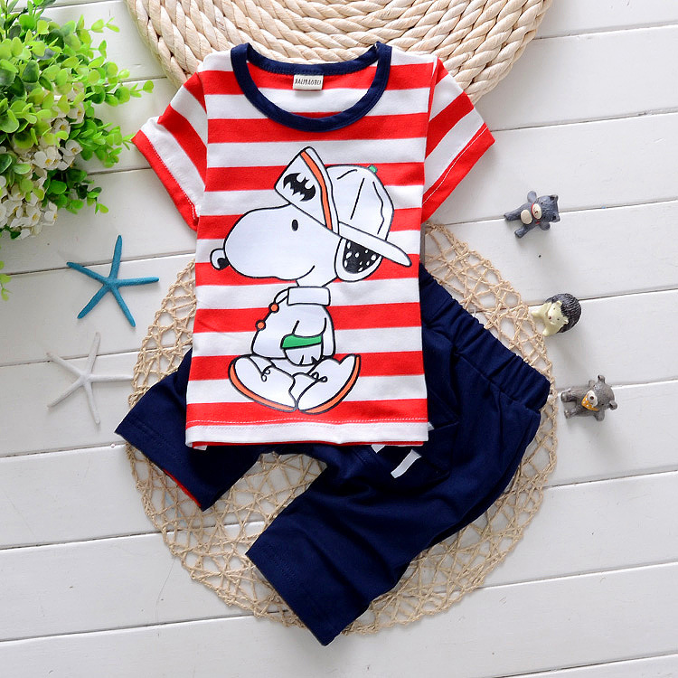 Summer Kids Sets 2pcs Suits Boys Girls Short Sleeve T-shirt+Pants Baby Kids Dog Outfits 100% Cotton 4S/L(China (Mainland))
