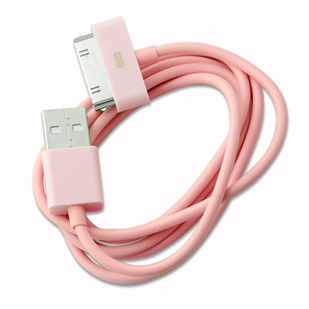 USB Sync Data Charging Charger Cable For iPad 1 2 for iPod for iPhone 3GS 4S Pink EE4233(China (Mainland))