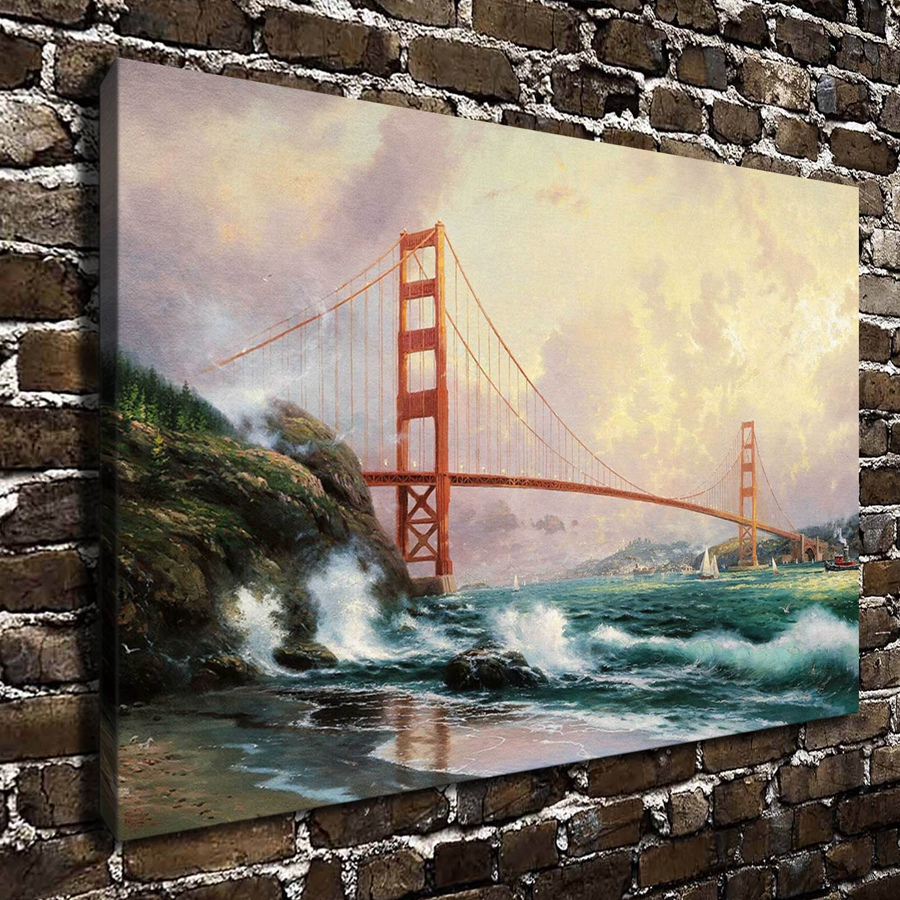 H1042 Thomas Kinkade Golden Gate Bridge San Francisco,HD Canvas Print Home decoration Living Room Bedroom Wall pictures painting(China (Mainland))