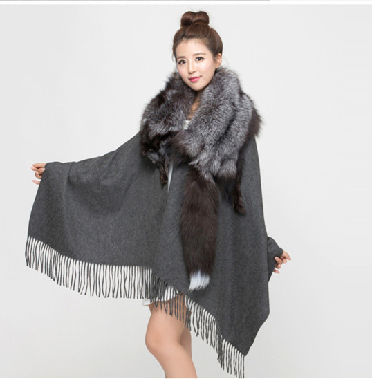 2016 new highgrade fur fringed scarve Ms pure color black gray fox shawl Threedimensional real animal oversized fox collar whole(China (Mainland))