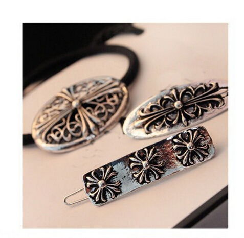 2PC Retro Classic Cross Carved Hair Clip Hairpins CJWD 91(China (Mainland))