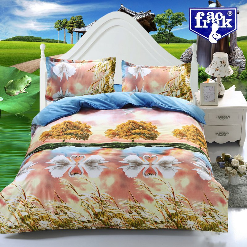 free shipping 4pcs bedding set white swan 3d bedding sets bedspread/duvet cover/sheets/bed linen 3d luxury bedding set(China (Mainland))