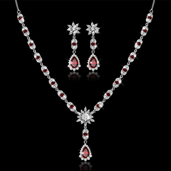Fashion set jewelry AAA zircon austrian crystal necklace and earring set colar e brinco conjunto white gold plated earrings set<br><br>Aliexpress