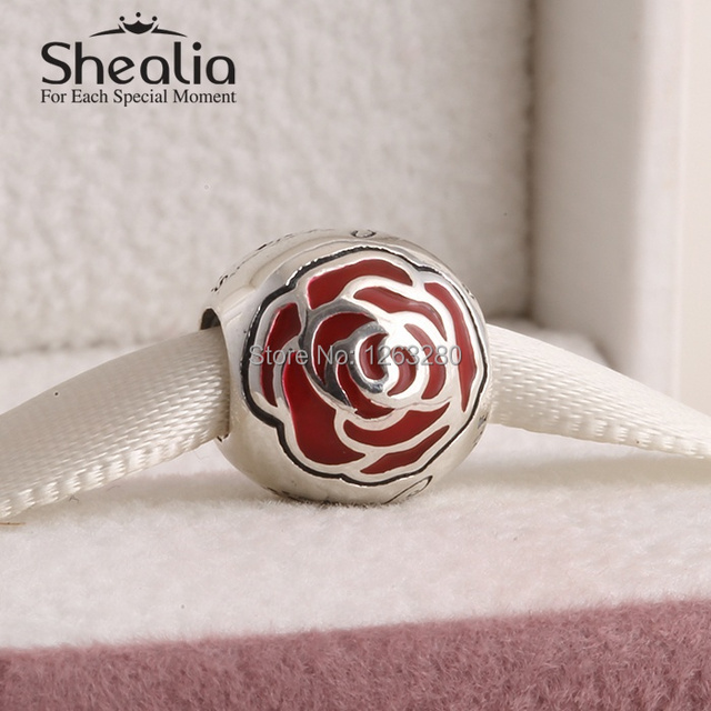 Весна 2015 красавица бал-очарованный роуз подвески с красной эмалью серебро 925 изящные украшения для женщин известный браслеты diy SH0641