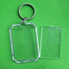 Personalizado Publicidade Chaveiros Inserção Da Foto Moldura de Acrílico Transparente DIY Em Branco Círculo Quadrado Anéis de Maçã em Forma de Chave(China)