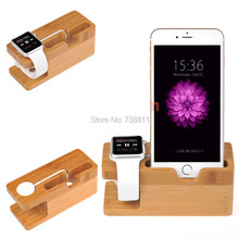 Healthy Bamboo Charging Wooden Stand Bracket Docking Station Stock Cradle Smart Phones Holder For All Apple iPhone i Watches