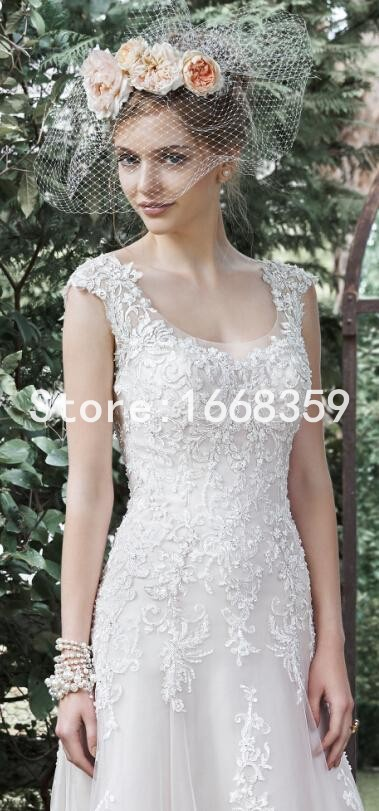 Best Sale 2015 Vintage Wedding Dress Custom Made Lace Bridal Gowns With Backless Scoop