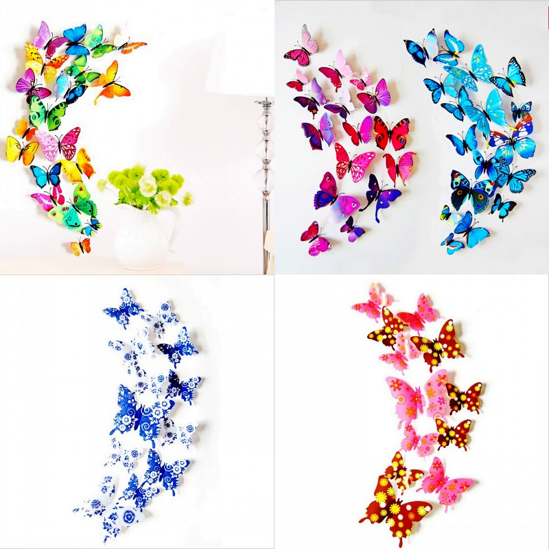 23 color hot sale 12pcs/lot 3D butterfly wall sticker gossip girl fashion home decor bling fridge magnets DIY wall decoration(China (Mainland))