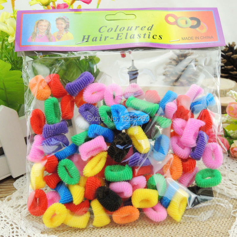 100pcs Colorful Children Kid Girl Hair Accessories Hair rope Towel Elastic Rainbow Hair bands Wholesale Retail Ponytail Holder(China (Mainland))