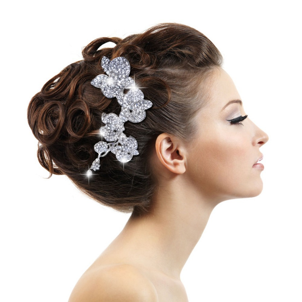 BELLA Wedding Accessories Bridal Flower Hair Comb Austrian ...