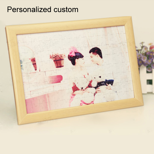 Custom Puzzle Photo Frame Gifts for Children Women Photo Wood Memory Personalized Graduation Photo Frame for Wedding Anniversary(China (Mainland))